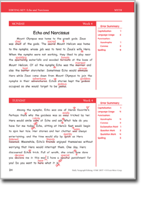 Printables Daily Edit Worksheets 04 echo narcissus daily paragraph editing week editing
