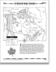 Map Of Canada Grade 5.Week 16 A Physical Map Canada Daily Geography Practice